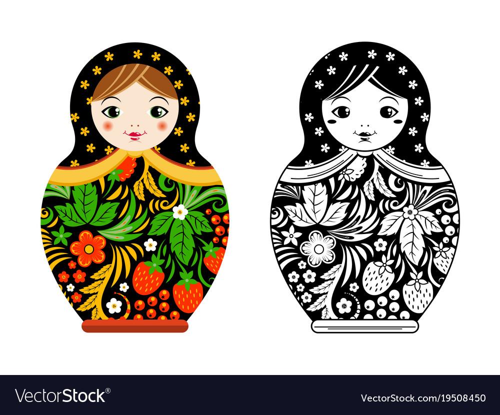 Retro russian doll matryoshka painted at vector image