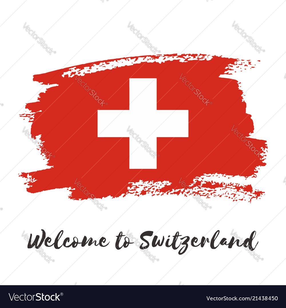 Switzerland watercolor national country flag icon