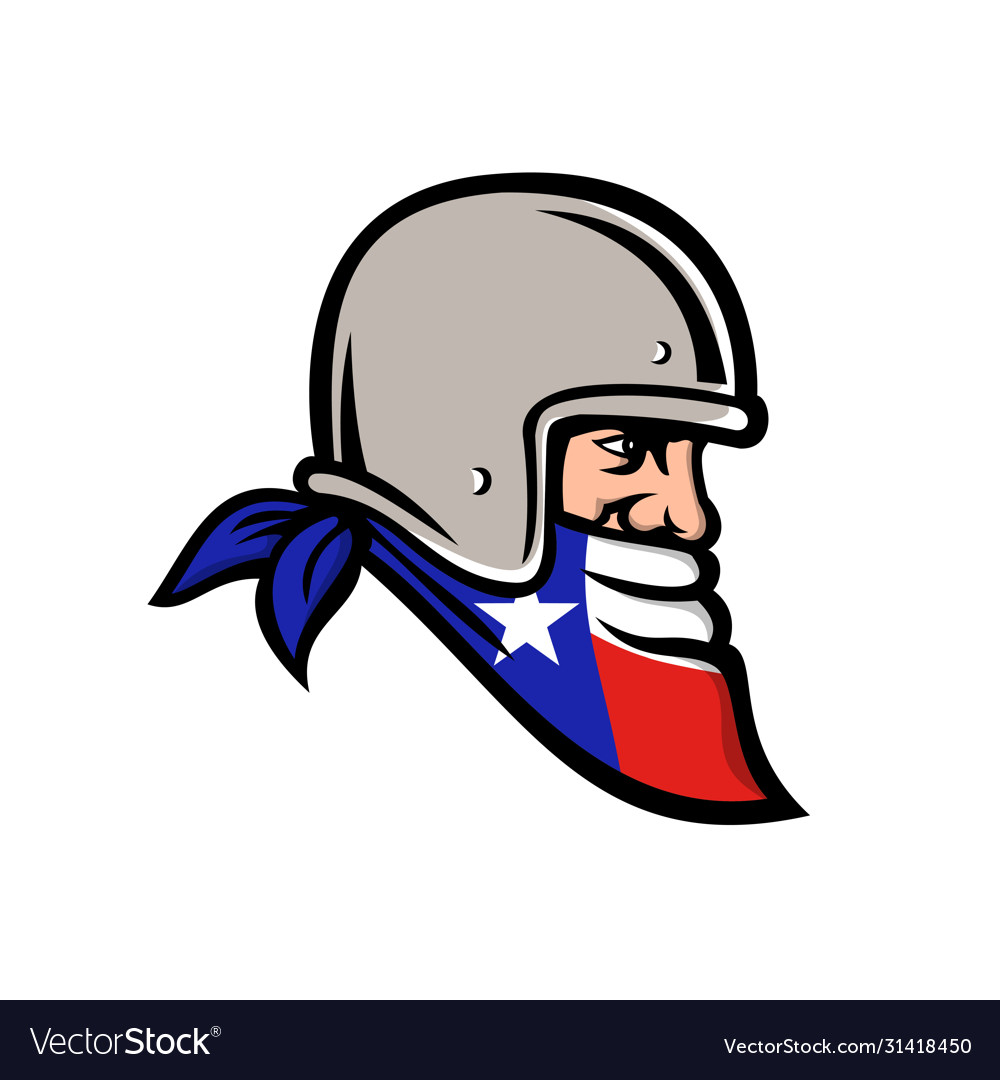 Texan bandit wearing bandana texas flag mascot