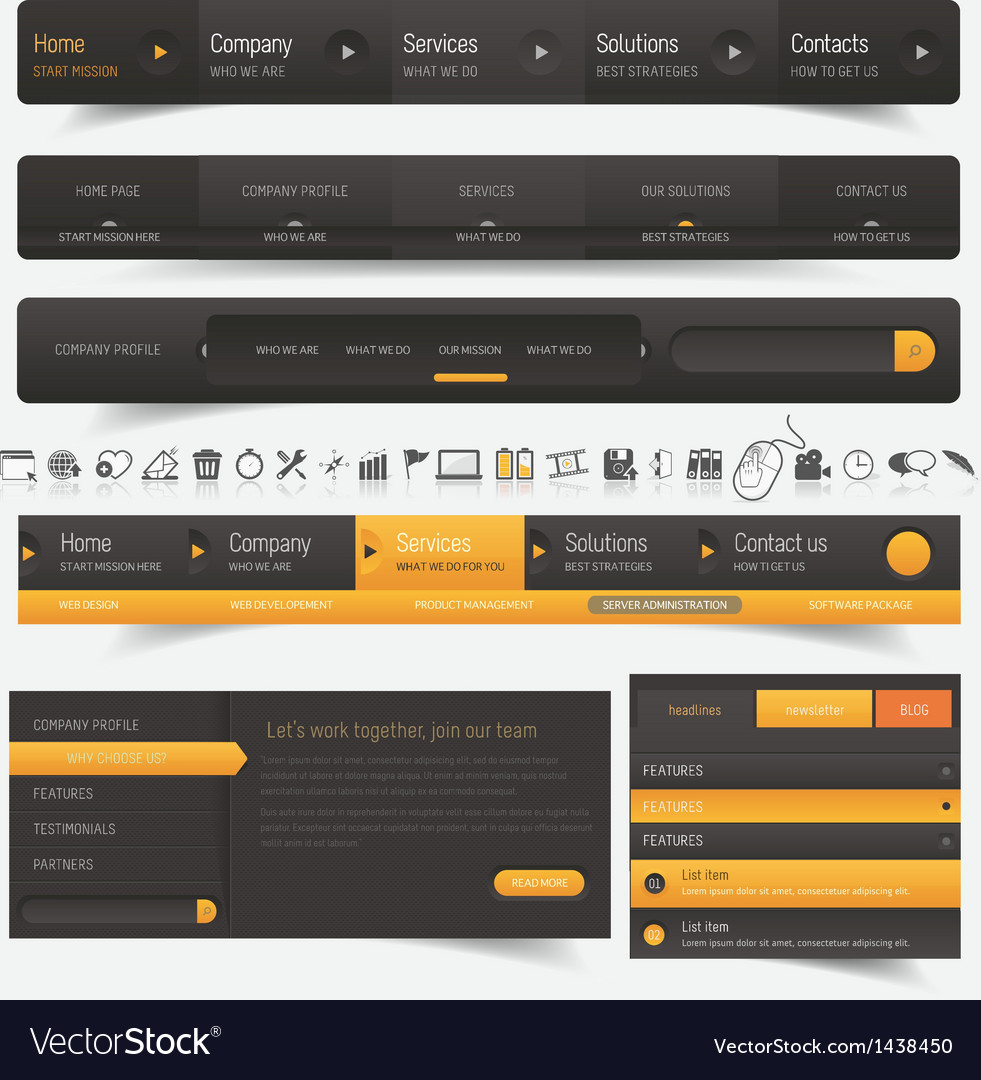Web site template navigation elements