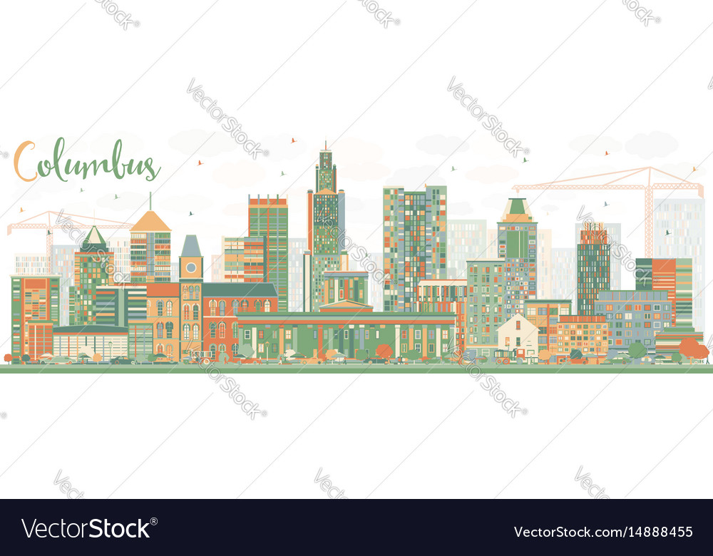 Abstract columbus skyline with color buildings vector image