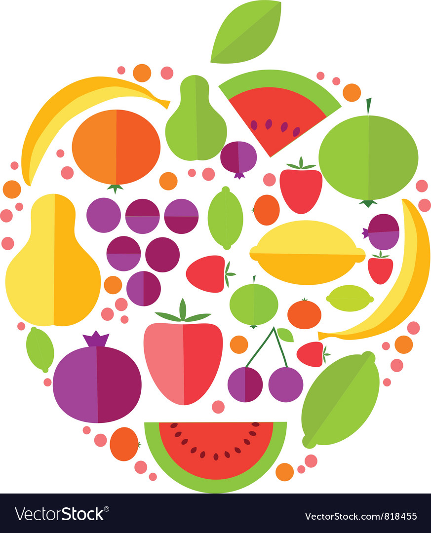 Apple fruit icons vector image