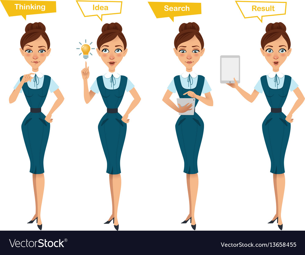Business woman characters four different poses