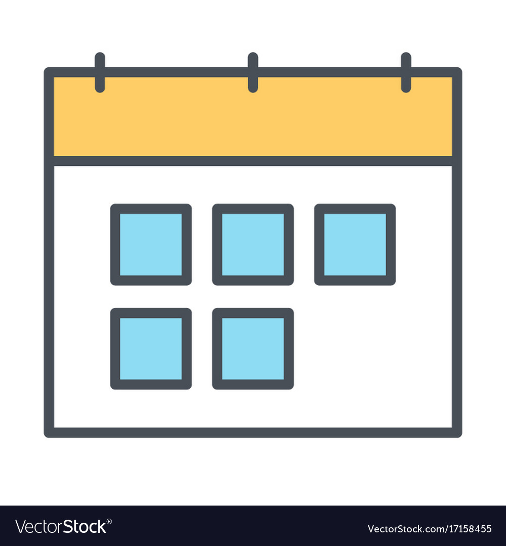 Calendar line icon symbol in outline style