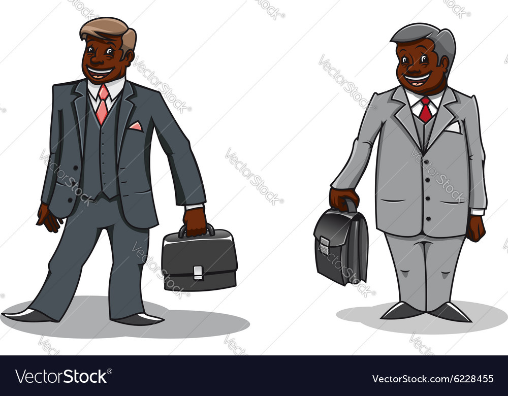 Cartoon happy businessmen with briefcases