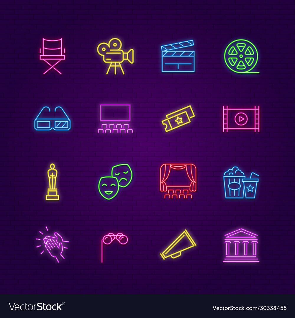 Cinema icons neon entertainment colorful symbols