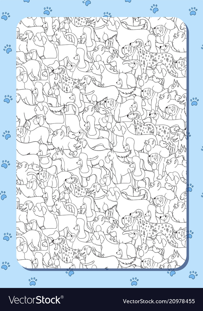 Coloring book with cute cartoon dogs different