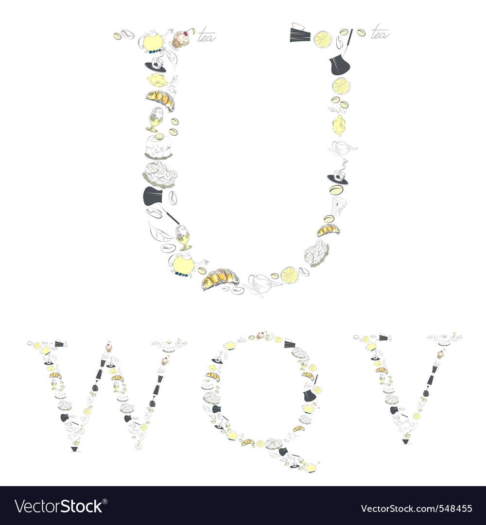 Decorative font with food element letters u w q v