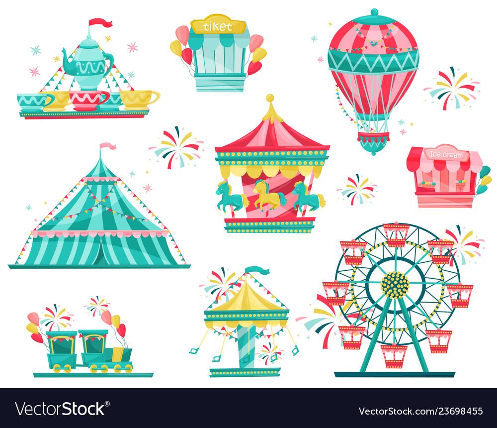 Flat set of amusement park equipment