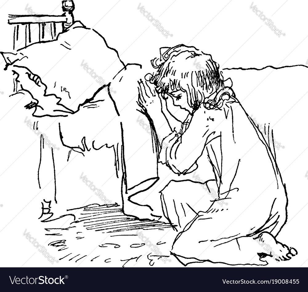 Girl praying vintage
