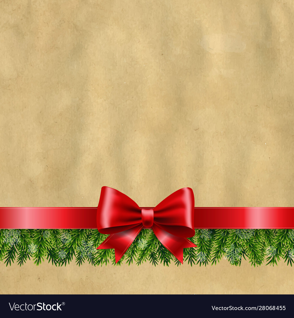 Happy new year banner with red ribbon and fir tree