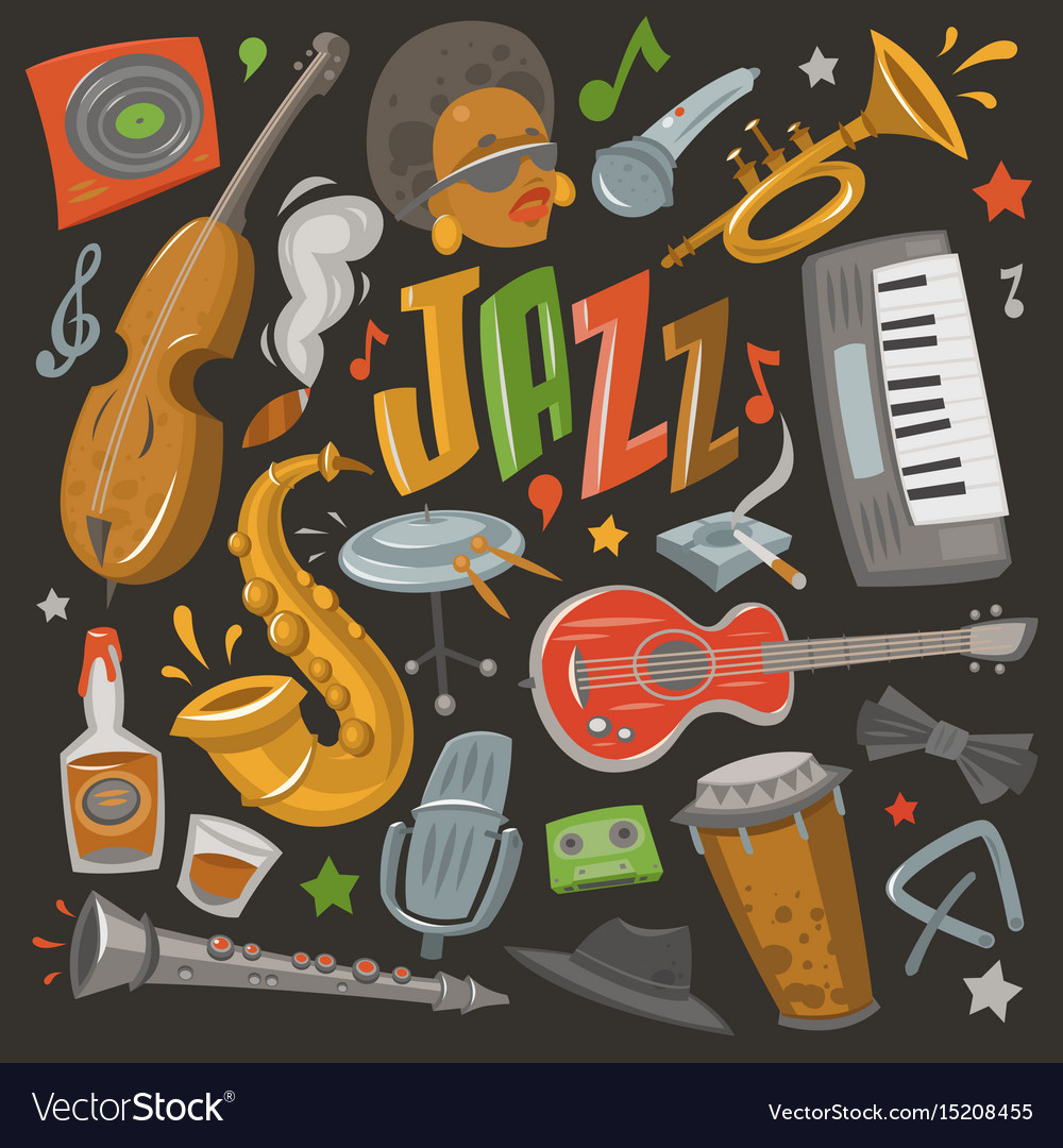 Jazz musical instruments tools icons jazzband