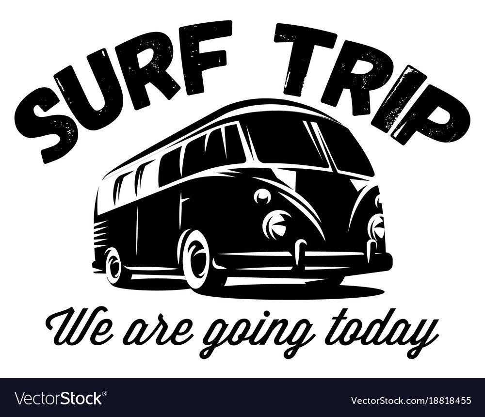 Monochrome badge with a bus for traveling