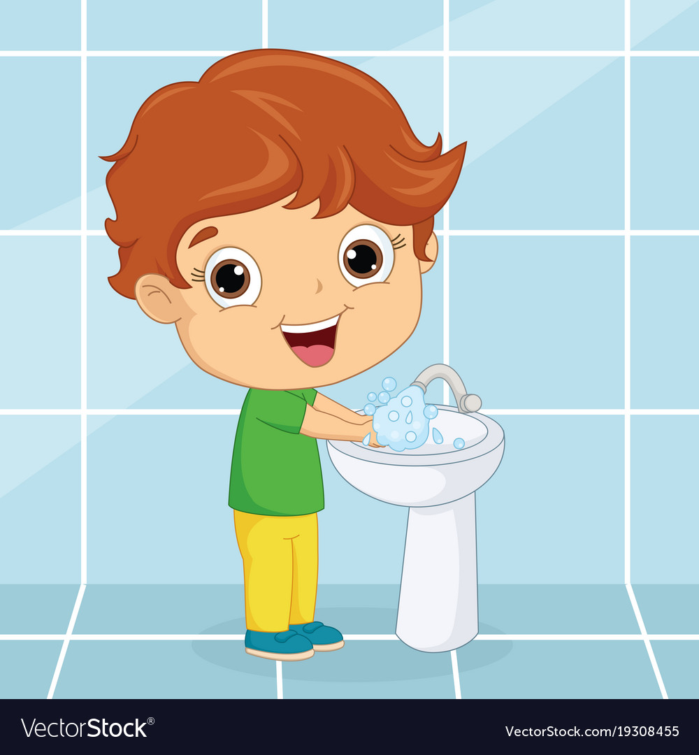 Of a kid washing hands Royalty Free Vector Image Kids Washing Hands
