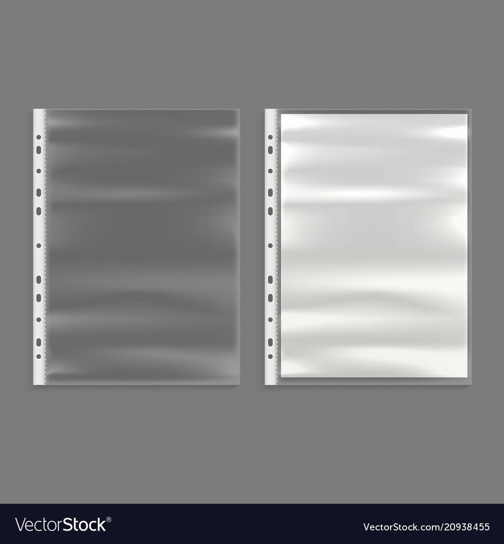 Realistic detailed 3d cellophane business file set
