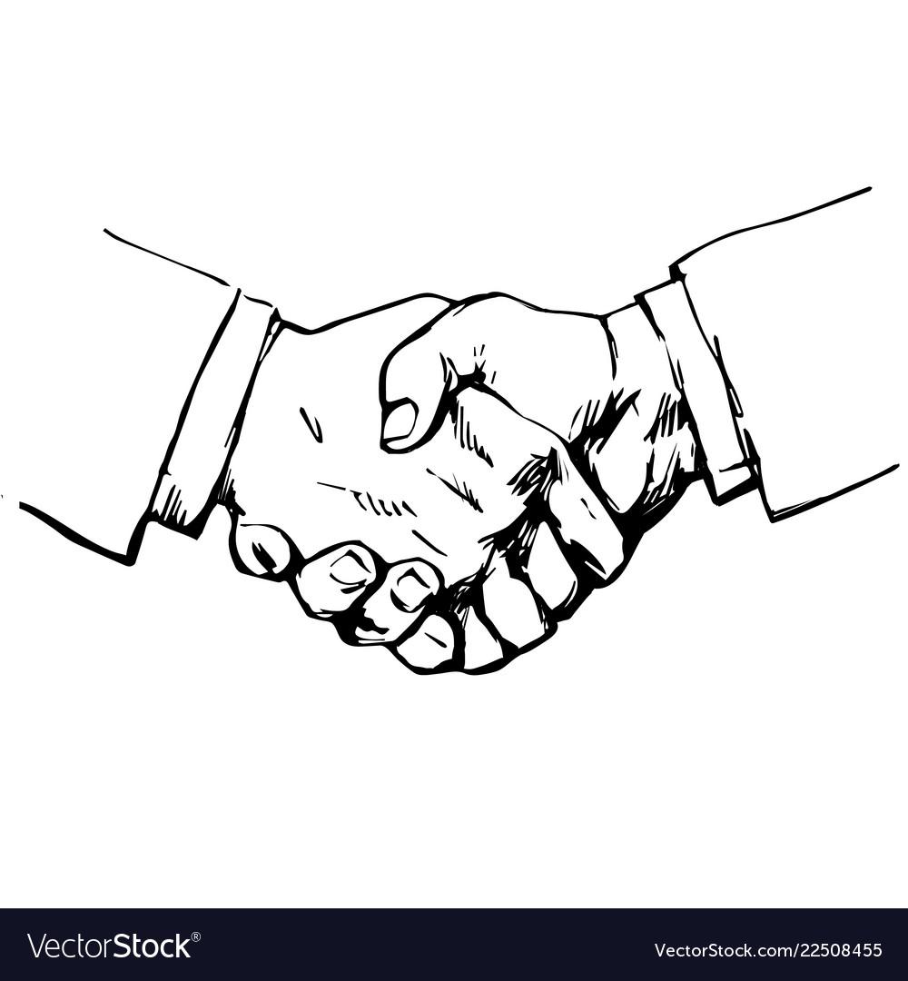 Sketch of handshake symbol of friendship