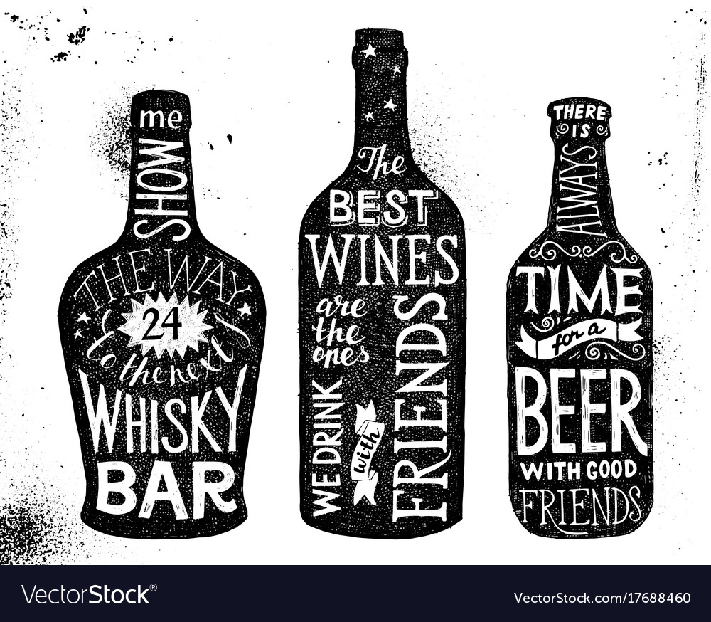 Alcoholic beverages hand drawn lettering set