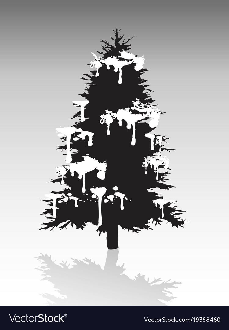 Black christmas tree silhouette covered with snow