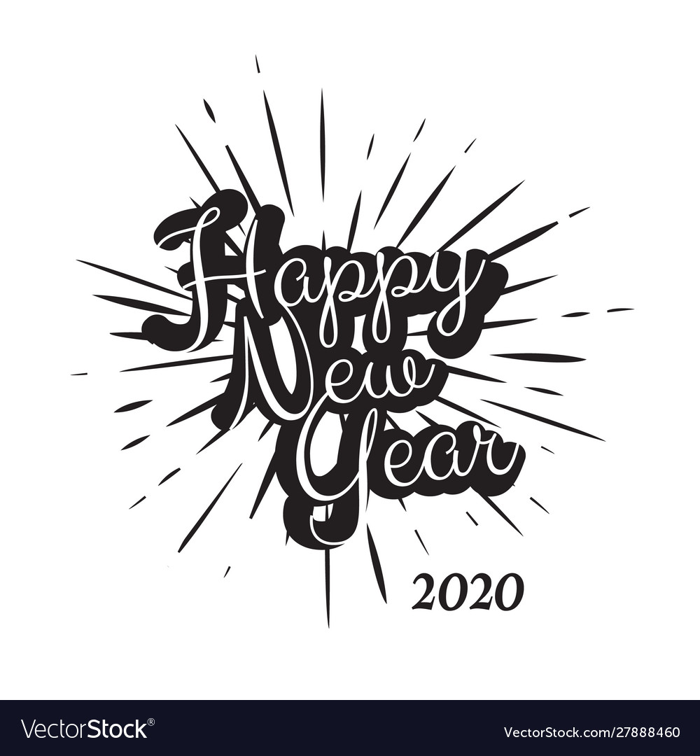 Black vintage happy new year 2020 background
