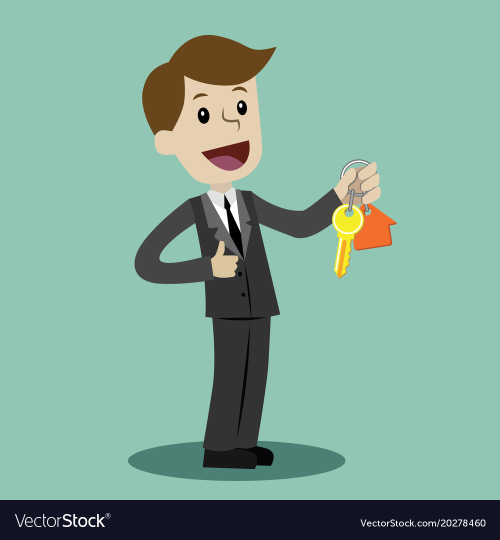 Businessman hand buying a house realtors hand