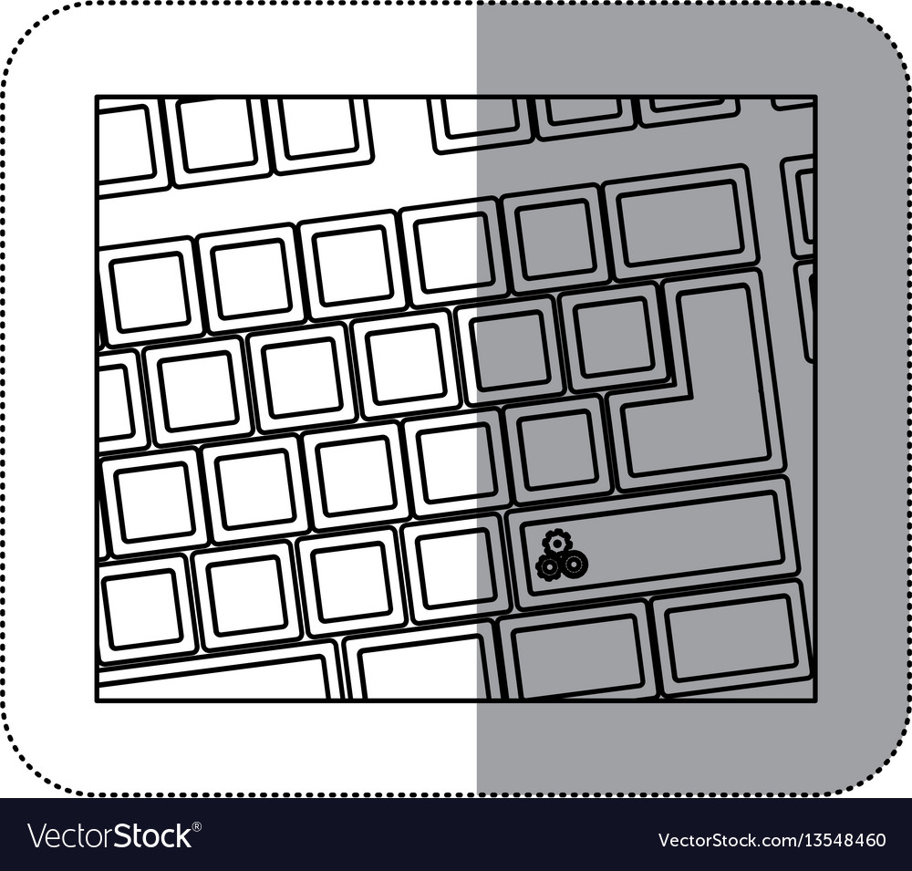 Contour computer keyboard with gear symbol icon vector image