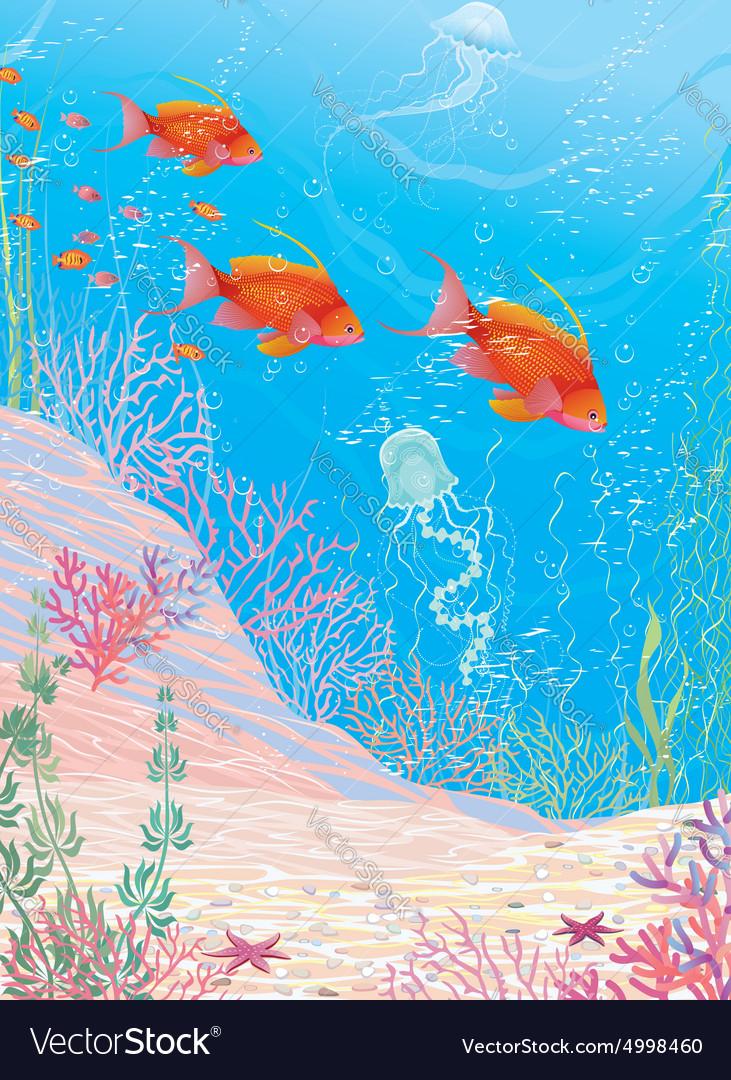 Deep underwater vector image