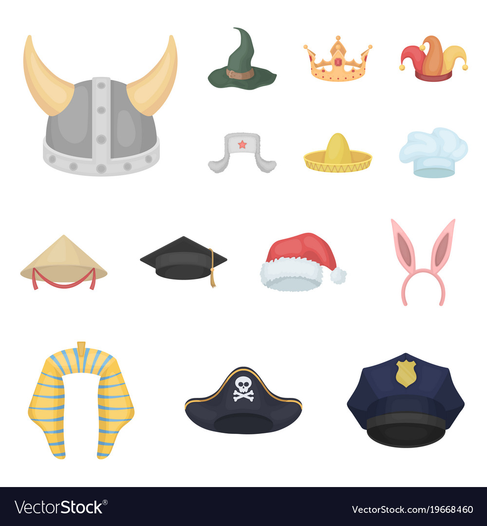 Different Kinds Of Hats Cartoon Icons In Set Vector Image