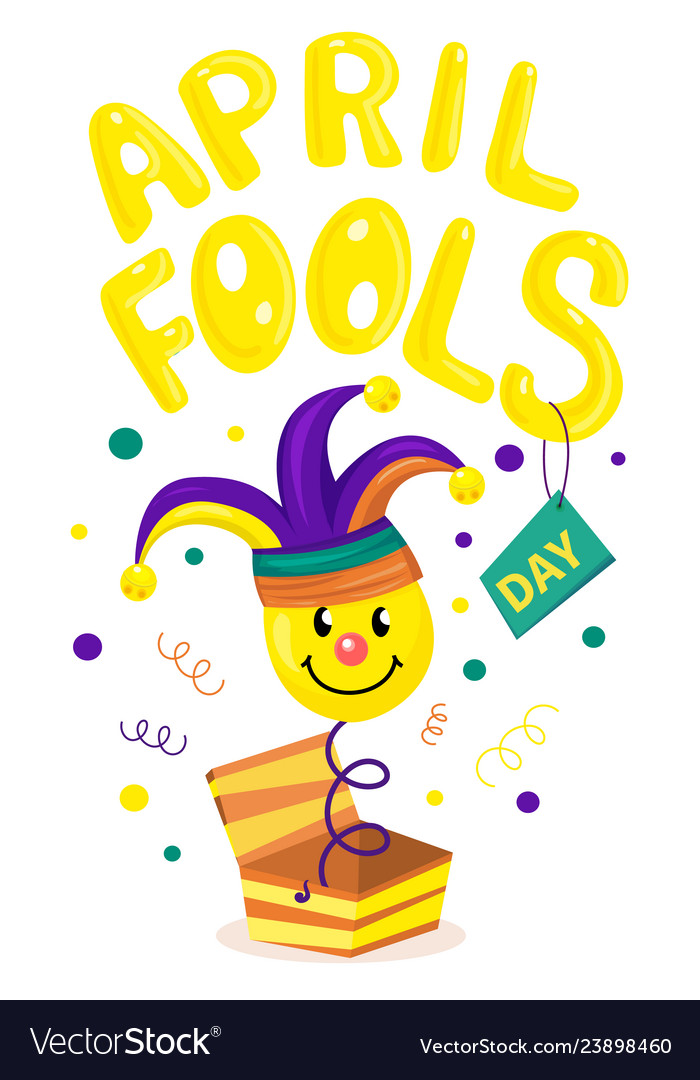 First april fool day typography colorful card