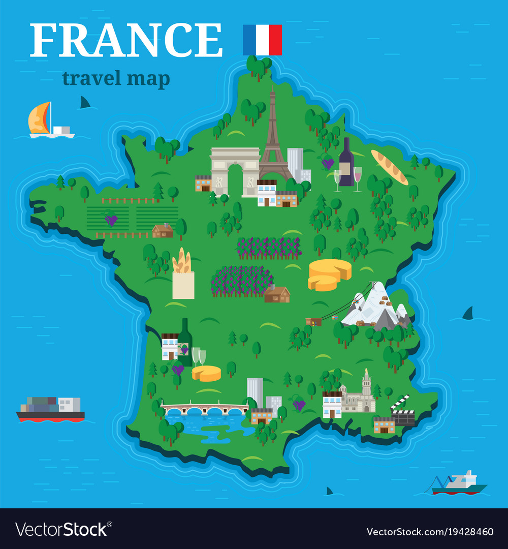 Travel Map Of France.France Map For Traveler With Local Tourist Vector Image