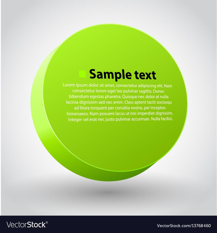Green three dimensions sircle vector image