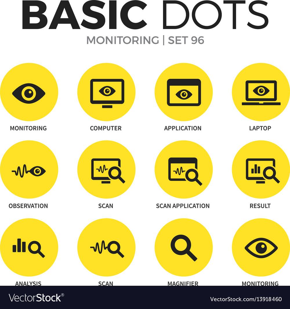 Monitoring flat icons set