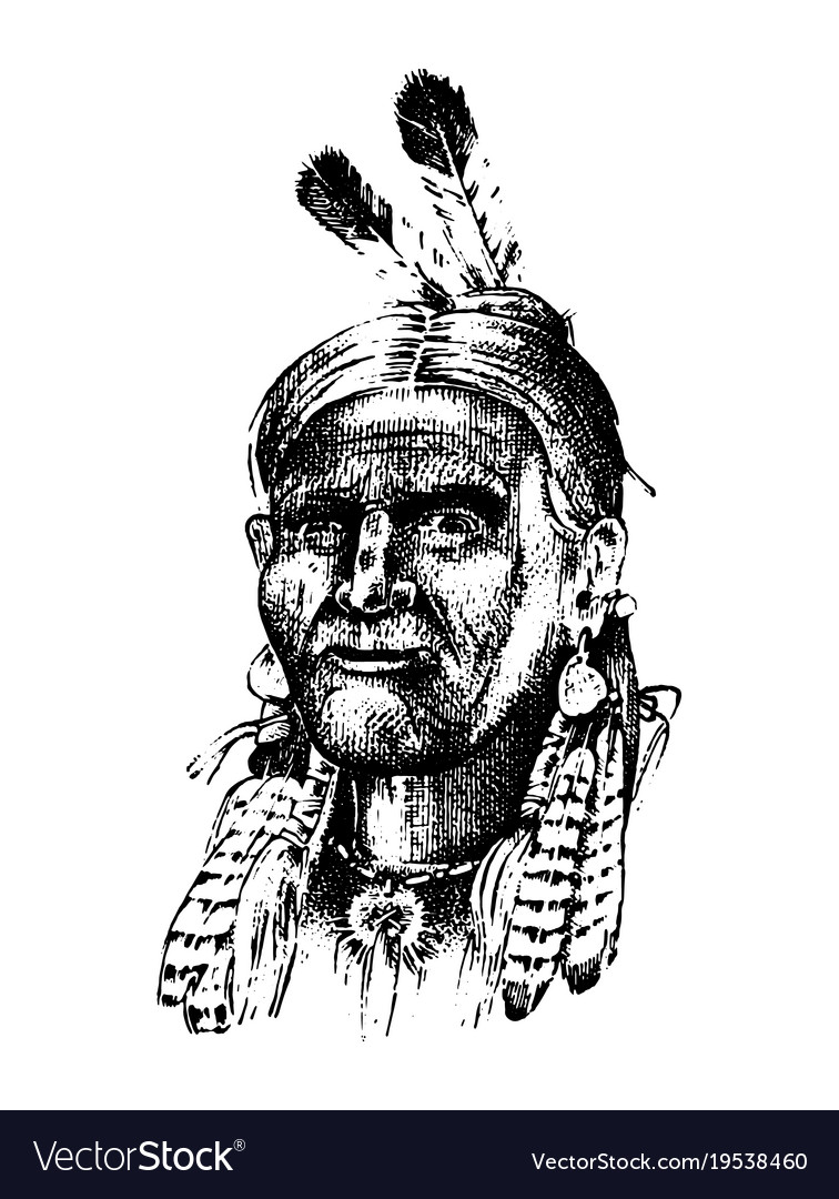 Native american indian man with headdress and