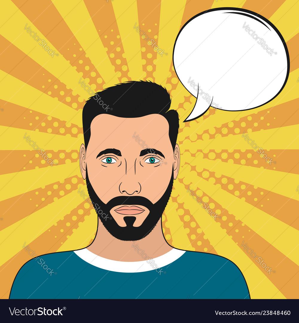 Pop art male portrait with blank speech bubble