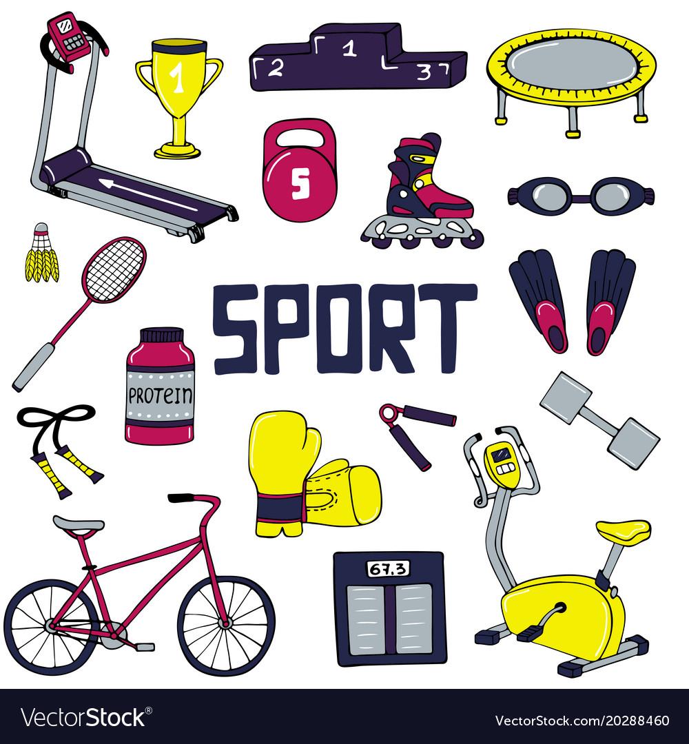 Set of sports line art