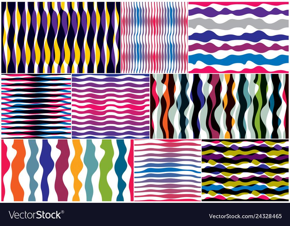 Artistic curve lines seamless patterns set