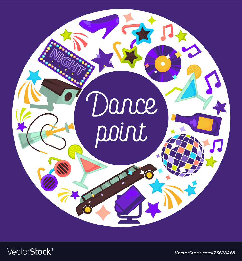 Dance party invitation poster discoteque