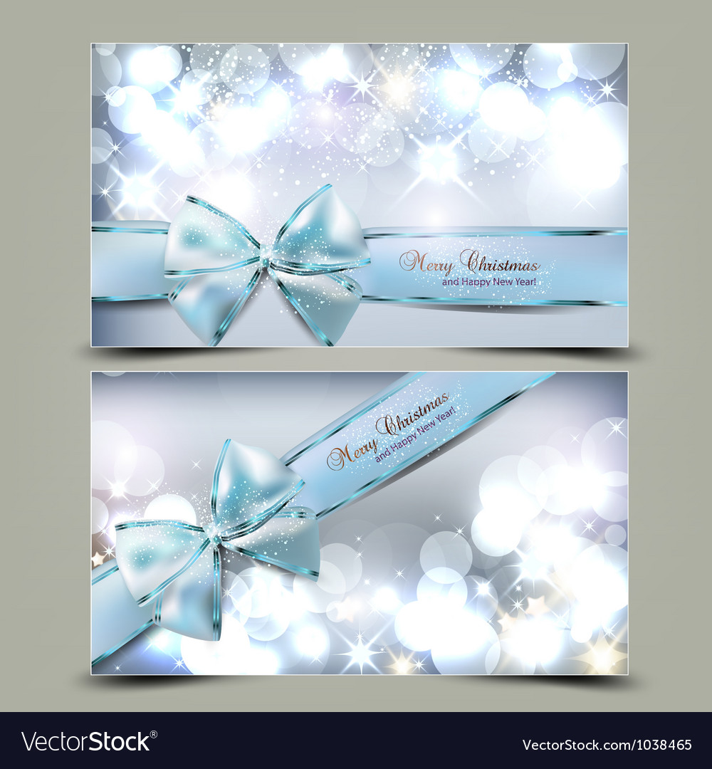 Elegant Christmas greeting cards with blue bows