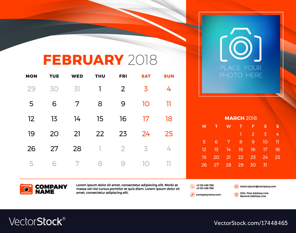 February 2018 Desk Calendar Design Template With Vector Image