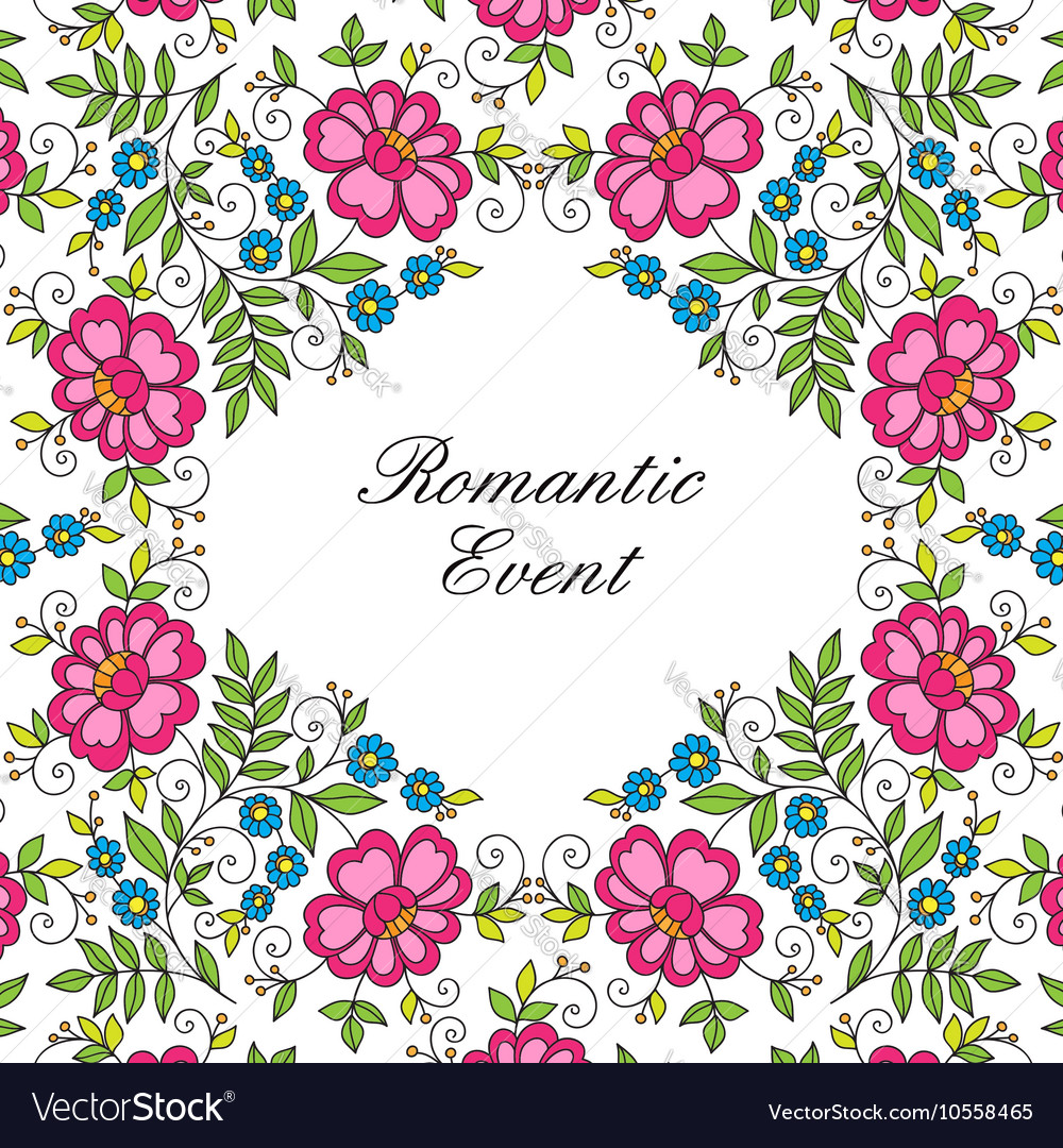 Flower design lace frame cColorful invitation vector image