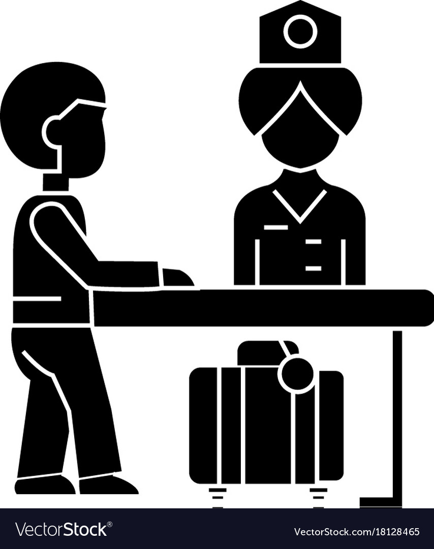 Hotel reception receptionist at the table ico vector image