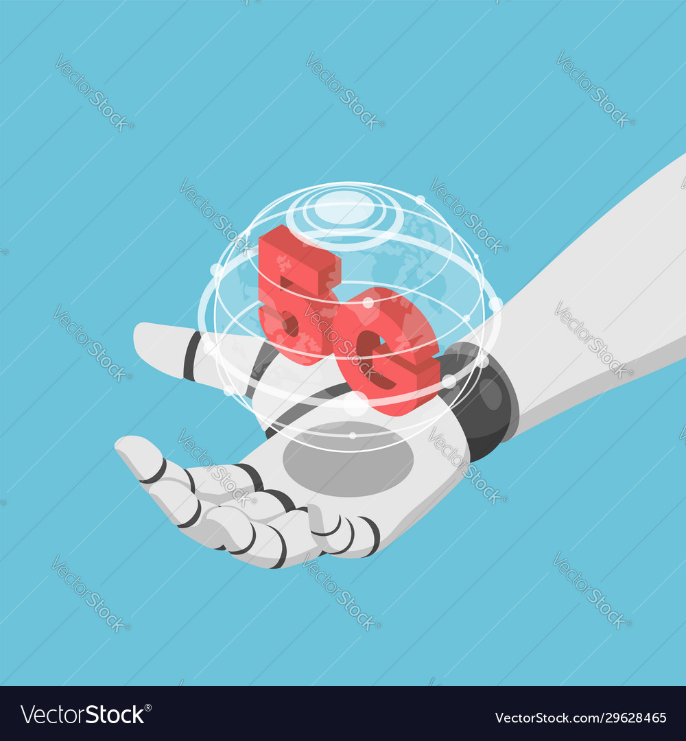 Isometric ai robot hand holding virtual wolrd and