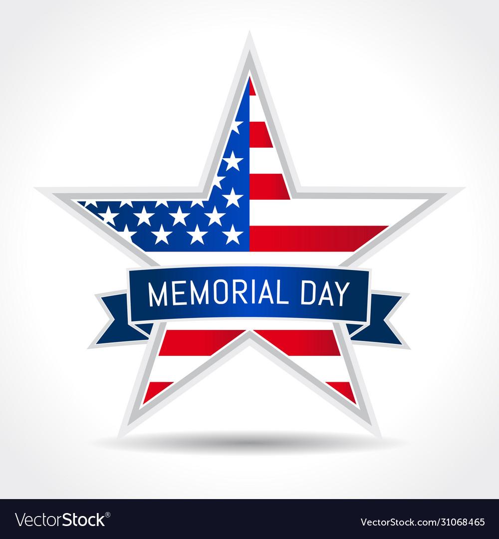 Memorial day usa star ribbon