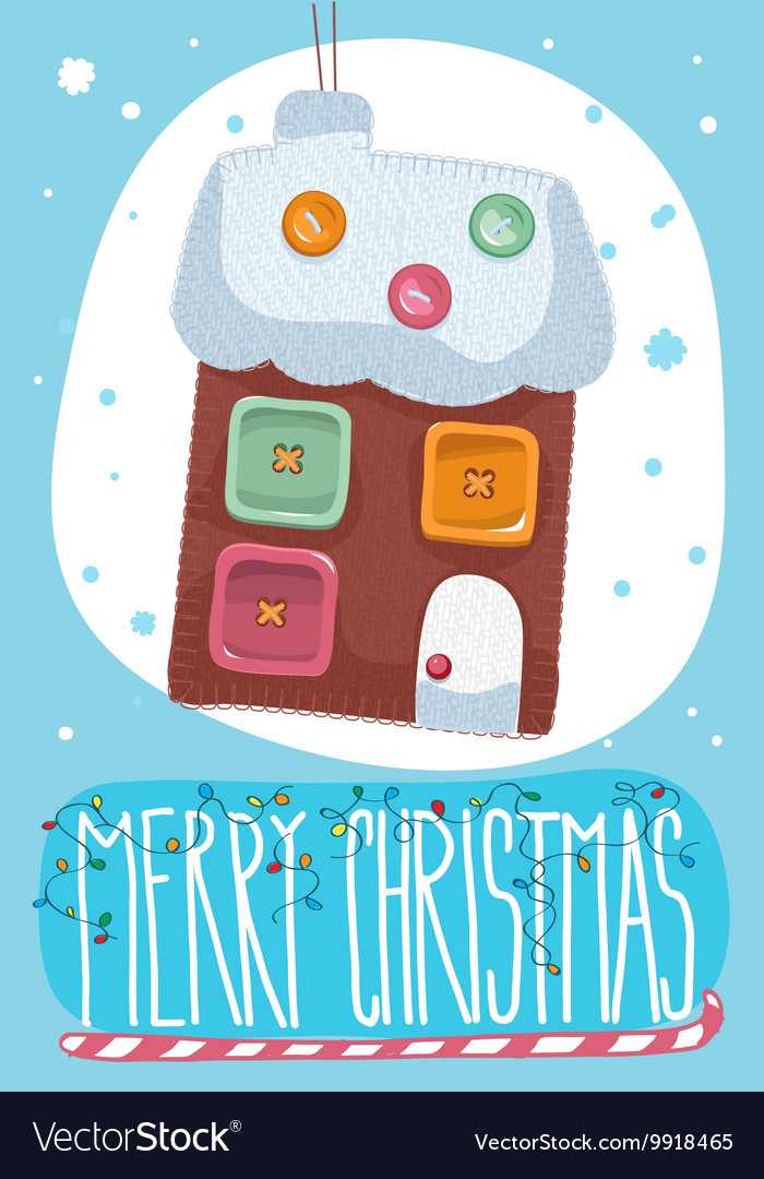Merry Christmas post card with toy house