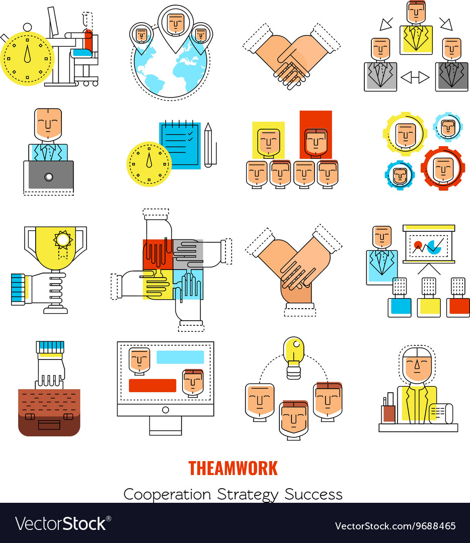 Teamwork Line Icon Set