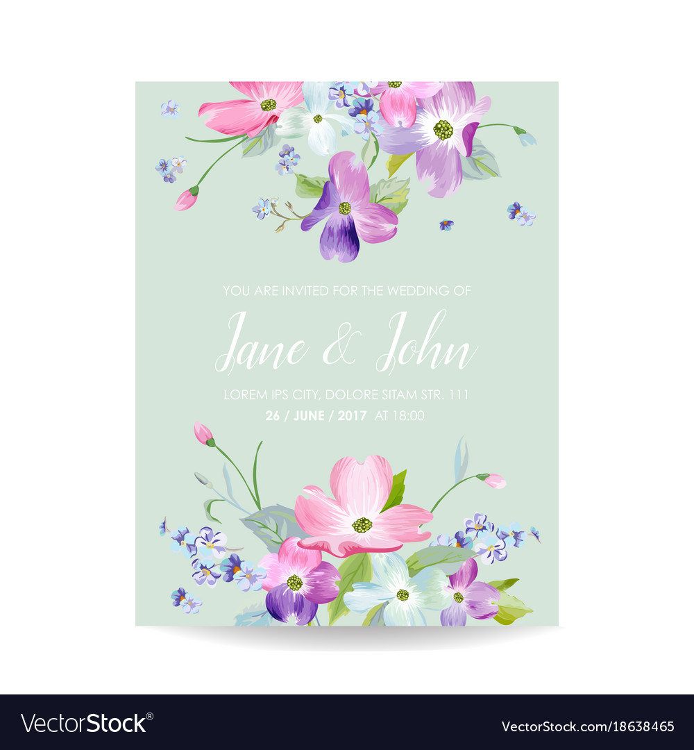 Wedding invitation template with spring flowers vector image stopboris Images