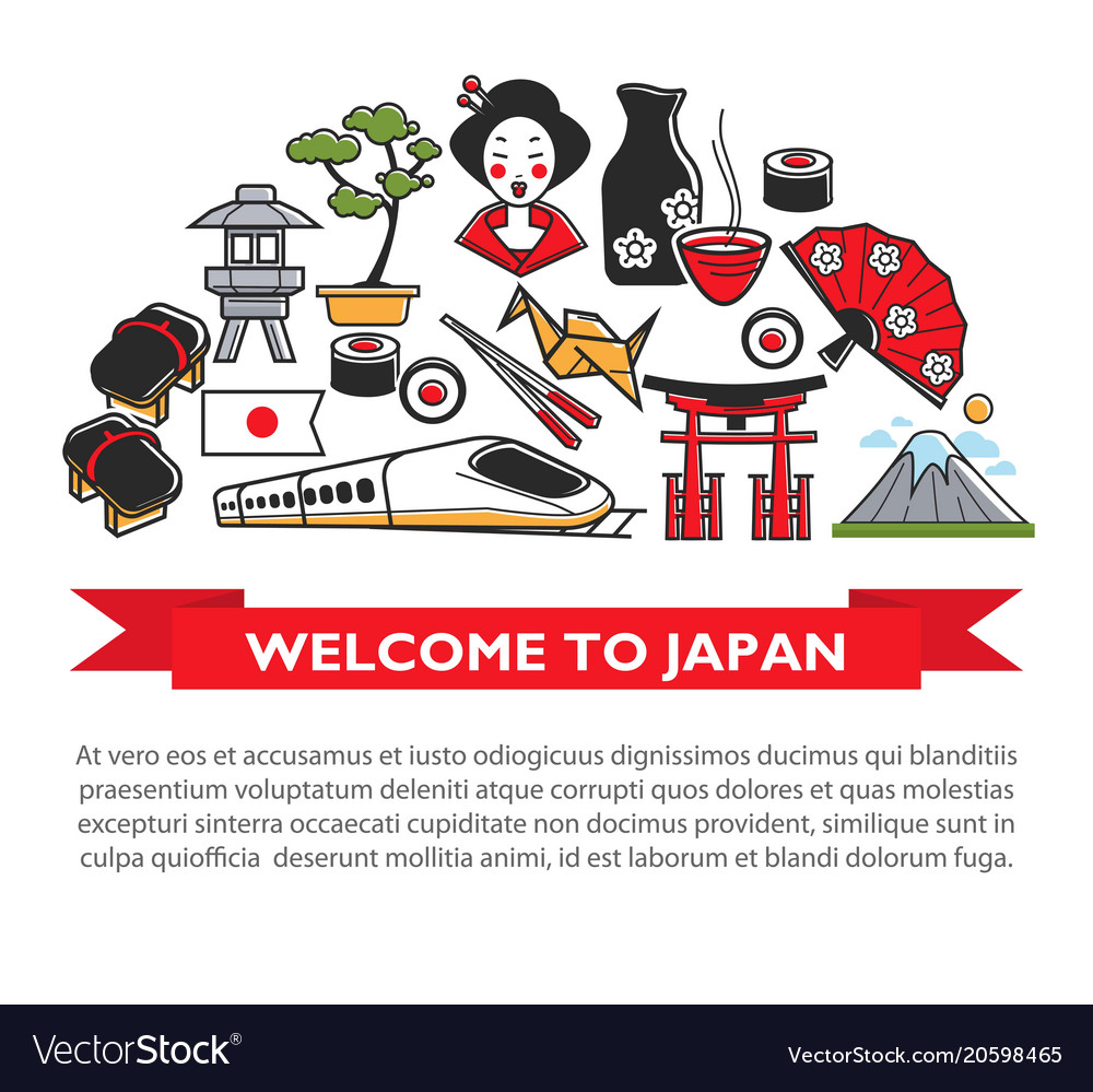 Welcome To Japan Travel Poster Of Japanese Culture