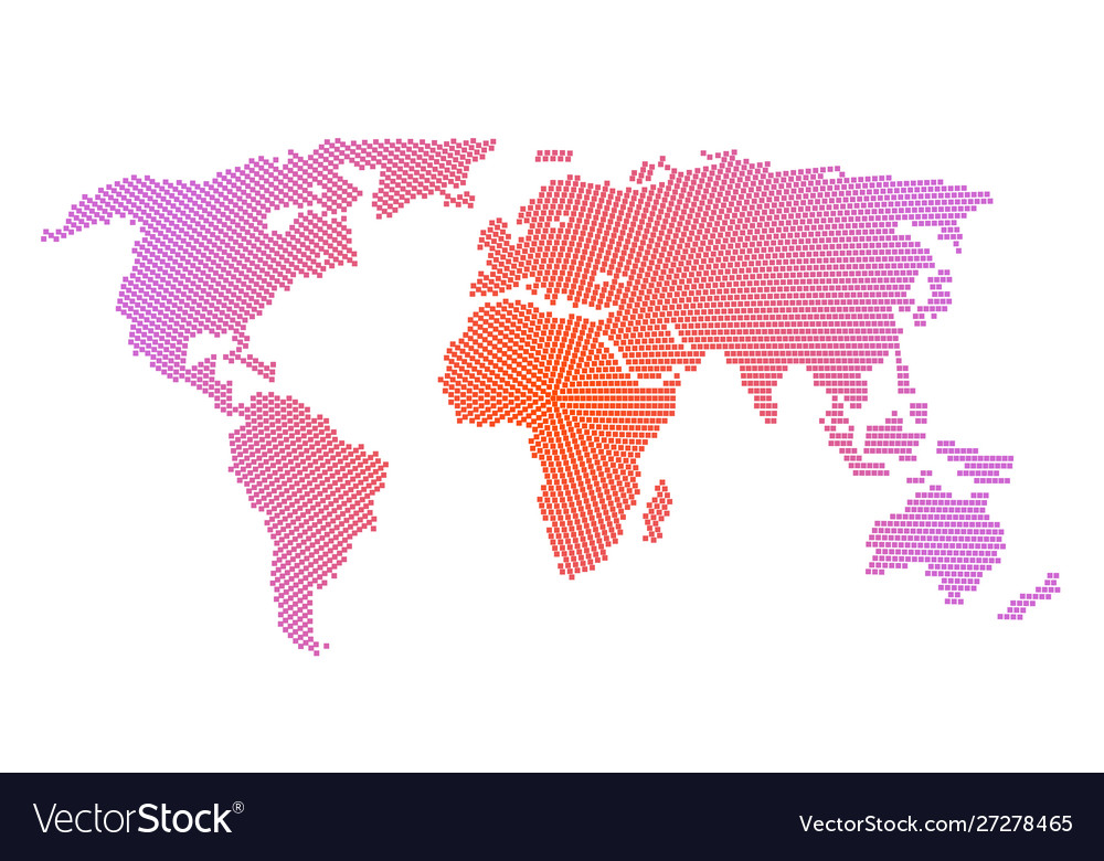 World map with dots pattern style isolate on