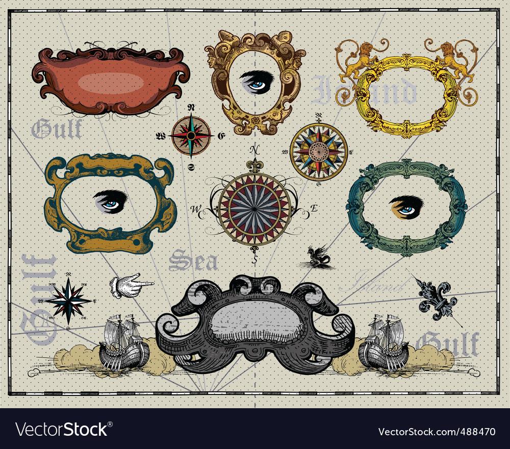 Antique map design elements