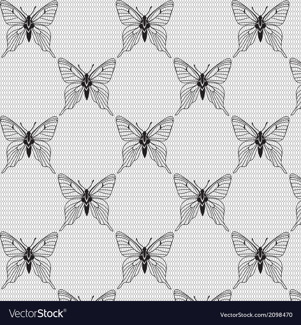 Black and white seamless with butterflies on the vector image