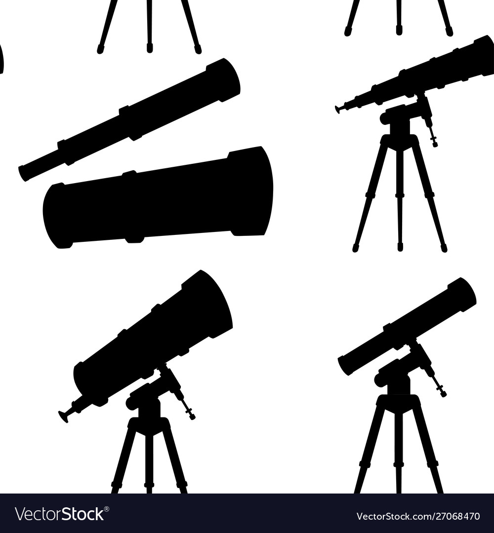 Black silhouette seamless pattern telescopes